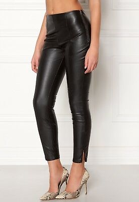 NEW LOOK Size 6-18 Faux Leather PU High Waisted Slim Skinny Black Leggings