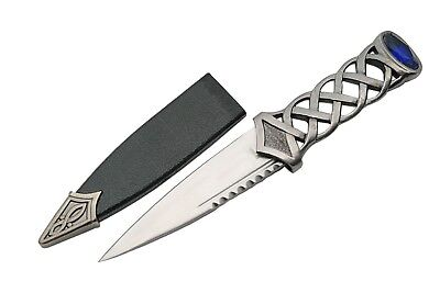 Celtic Scottish Highlandwear Sgian Skean Dubh Dirk Dagger 7.25 Knife Blue Jewel