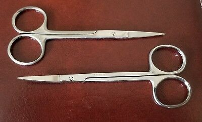 "2 Iris Scissors 4.5"" Curved & Straight Surgical Dental Instruments"