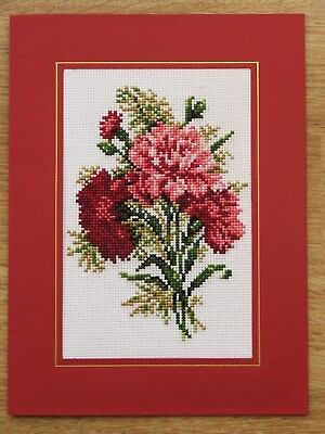 Completed Cross Stitch Card - Carnations