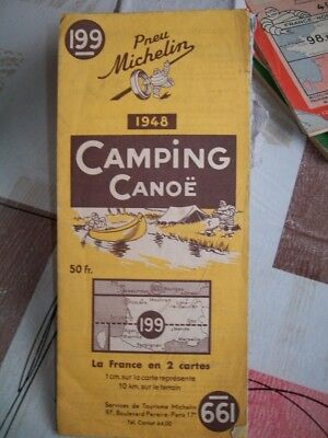 CARTE CAMPING  CANOË  1948   PNEU MICHELIN La France en 2 Cartes