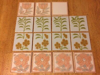 Vintage Country Kitchen French Cerabati Chateauroux Ceramic Tiles x 15 (1976)