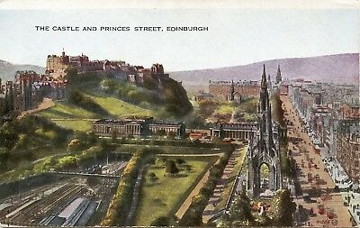 Postcard The Castle & Princes Street & Railway Station Edinburgh Scotland