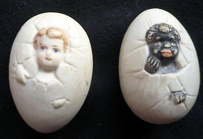 Antique 1890's Bisque Eggs (2) With Babies Climbing Out 1 is Black & 1 is White
