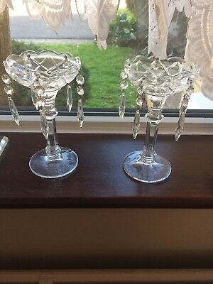 Pair of Beautiful Crystal Candle Sticks . Very Good Condition .
