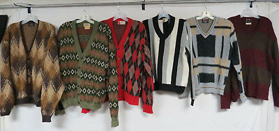 LOT OF 12 VINTAGE CARDIGAN SWEATERS V-NECK MOHAIR ROCKABILLY SOPRANOS COBAIN 60s