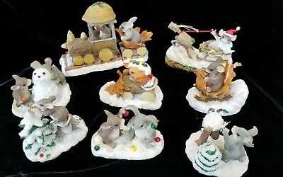 Silvestri Fitz & Floyd Charming Tails Christmas Figurines Lot Of 9 Mice
