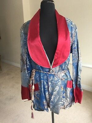 Vintage Men's Oriental Asian Smoking Jacket Robe Brocade Print 1950 1960