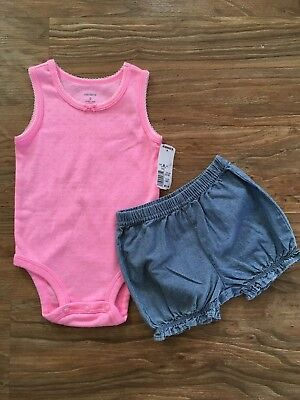 Infant Baby Girl 9 Month Carter's Pink One Piece and Blue Jean Bubble Shorts Set