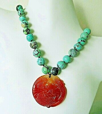 """VINTAGE ANTIQUE CHINESE CARVED NATURAL TURQUOISE CARNELIAN NECKLACE 122gms 17"""""""
