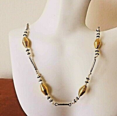 "Striking Vintage 17"" Sterling 18Kt Gold Vermeil Pearl Layering Necklace"