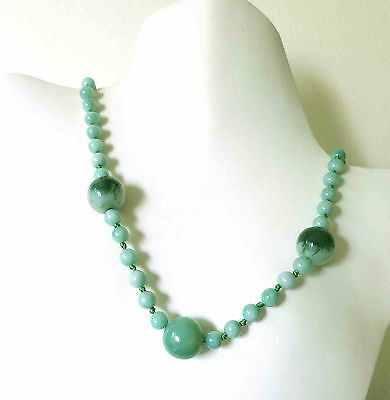 """COOL RARE ANTIQUE VINTAGE DECO CHINESE JADEITE JADE BEADS TO 18mm  NECKLACE 29"""""""