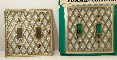 Vintage Double light Switch Plate Cover Gold & Pearl Edmar Creation Retro   SR-3