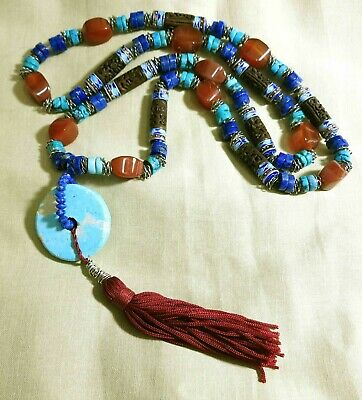 Vintage Chinese Carved Natural Turquoise Carnelian Lapis Layering Necklace 33""