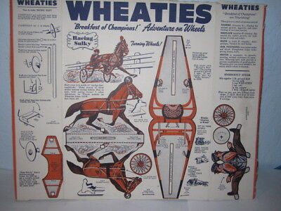 Vintage ADVENTURE ON WHEELS Cut Out Box Back & Sides,Wheaties (1950s), SULKY