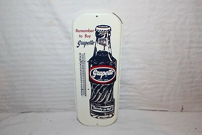 "Vintage c.1960 Grapette Grape Soda Pop Bottle 16"" Metal Thermometer Sign~Nice"