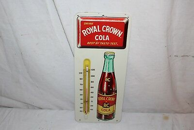 "Vintage 1950's RC Royal Crown Cola Soda Pop 14"" Embossed Metal Thermometer Sign"