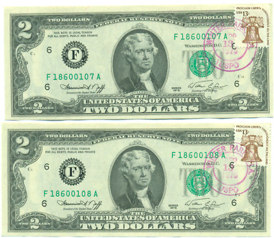 Two Consecutive 1976 $2 Federal Reserve Notes Postal Cancelled
