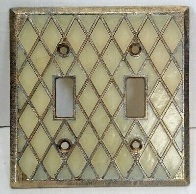 Vintage Double Light Switch Plate Cover Gold & Pearl Pearl Maid Retro   SR-3