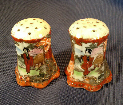 Nippon Satsuma Salt And Pepper Shakers - Hand Painted Gilding And Moriage Japan