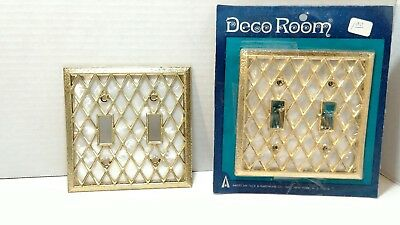 Vintage Double Light Switch Plate Cover Pearl White and Gold American Tack  SR-3