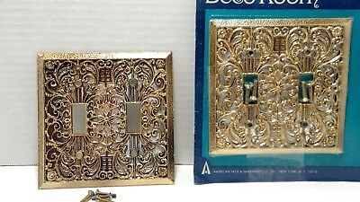 Vintage Double Light Switch Plate Fancy Intricate Design American Tack  SR-3