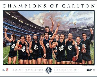 CHAMPIONS OF CARLTON 150th YEAR LIMITED EDITION OFFICIAL AFL PRINT JUDD NICHOLLS