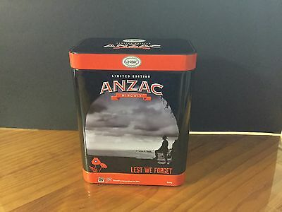 Collectable 2017 Anzac Biscuit Tin LEST WE FORGET.  ( Empty )