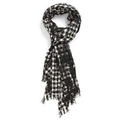 dccb7e75480 John Varvatos Star USA Men s Gingham Pigment Spray Wool Scarf B W  88 msrp  NWT