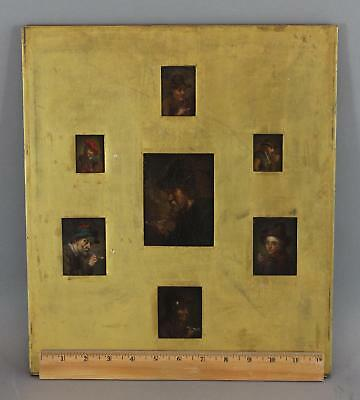 7 Antique Miniature 18th Old Master Portrait Oil Paintings, Men Smoking Pipes