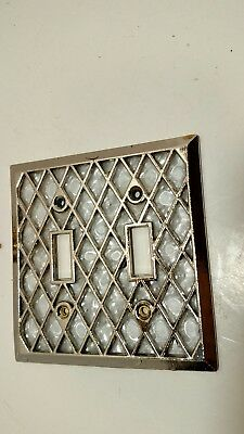 Vintage Double Light Switch Plate Cover Gold & Pearl Dilly Retro   SR-3