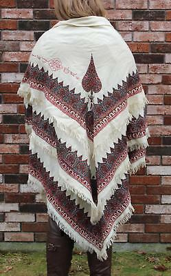 Fine Soft Antique Signed Kashmir Hand Woven Goat Hair Embroidered Paisley Shawl