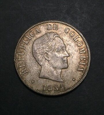 Colombia 1924 50 Centavos Silver 0.900 Toned Coin