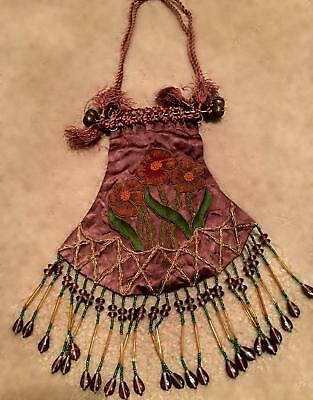 Stunning Silk Art Nouveau style purse in browns and embroidered  beads brass