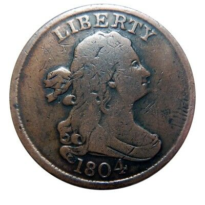 Half cent/penny 1804 spiked chin shattered reverse