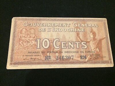 FRENCH INDOCHINA - P 85d - 10 Cents - 1939 - EF