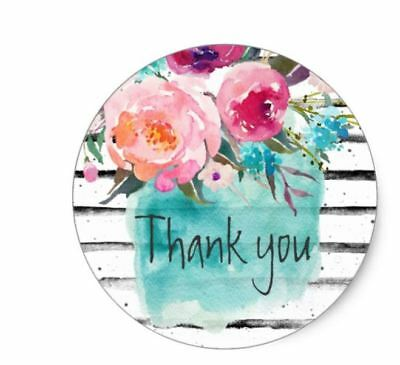 Thank You Envelope Seals Stickers Watercolor Paint Black White Line 1.2 In Round