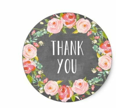 Thank You Chalkboard Rustic Country Stickers Envelope Seals NEW 1.2 Inch Round