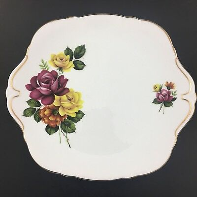 Royal Windsor Serving Plate Fine Bone China England Red & Yellow Roses Gold Trim