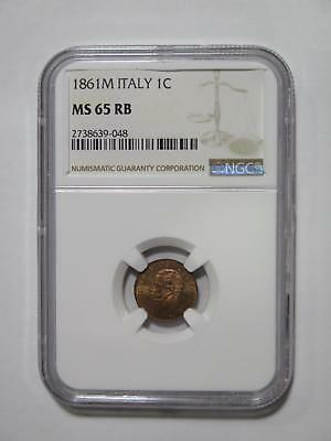 Italy 1861 M 1 Centesimo Vittorio Ii Gem Ngc Ms65 Old World Coin Collection Lot