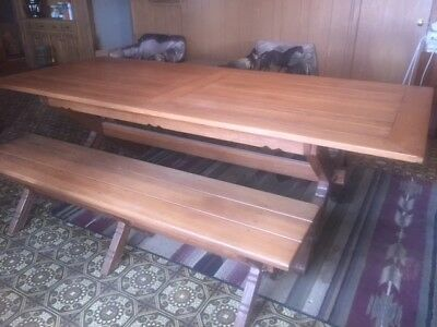 A. Brandt Ranch Oak Golden Oak Harvest Table with 2 benches, early 1960's