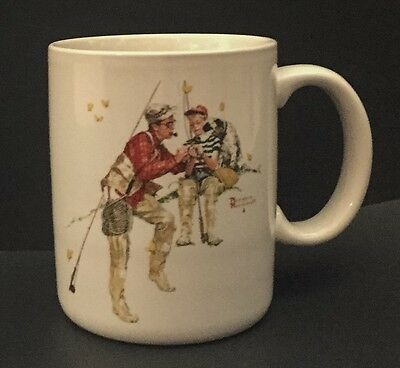 Vtg Norman Rockwell Trout Dinner Coffee Mug Cup Father Son Fishing Lifelike Art