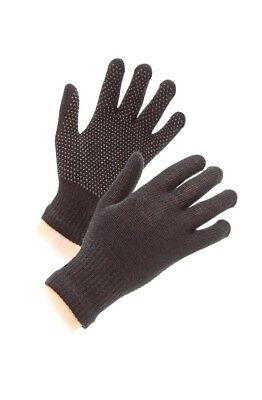 Adults Magic Pimple Stretch Palm Horse Pony Riding  Gripper Gloves Black