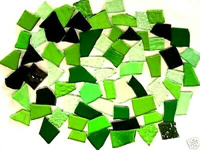 100g Mixed GREEN Stained Glass prefect MOSAIC pieces