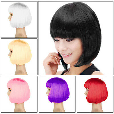 New Ladies Women Sexy Fancy Dress Full Wig Short Bob Style Party Cosplay Costume