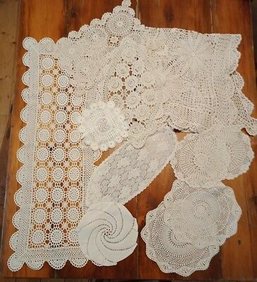 11 pieces crochet lace table cloth doilies runner