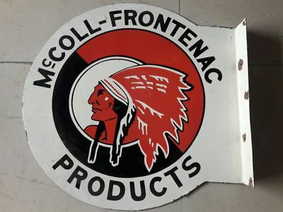 Mccoll Frontenac Porcelain sign 24 inches round 2 sided with Flange