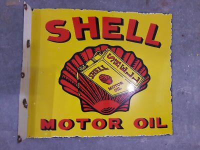 "PORCELAIN SHELL MOTOR OIL ENAMEL SIGN - 20"" X 18'' with flange"
