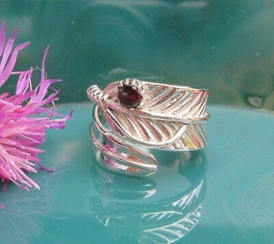 Ring Feather Native American Style Sterling Silver 925 Garnet Red Stone of the