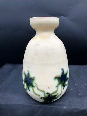 7 1/2 INCH HERMAN KAHLER DANISH POTTERY ART DECO ERA VASE  CREAM With IVY MOTIF